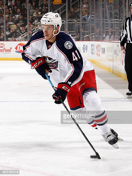 Alexander Wennberg of the Columbus Blue Jackets moves the puck against the Pittsburgh Penguins at Consol Energy Center on December 21 2015 in...