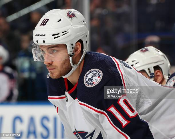 Alexander Wennberg of the Columbus Blue Jackets prepares for a faceoff against the Buffalo Sabres during an NHL game on March 31 2019 at KeyBank...