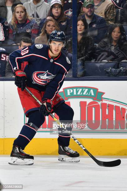 Alexander Wennberg of the Columbus Blue Jackets skates against the Arizona Coyotes on October 23 2018 at Nationwide Arena in Columbus Ohio