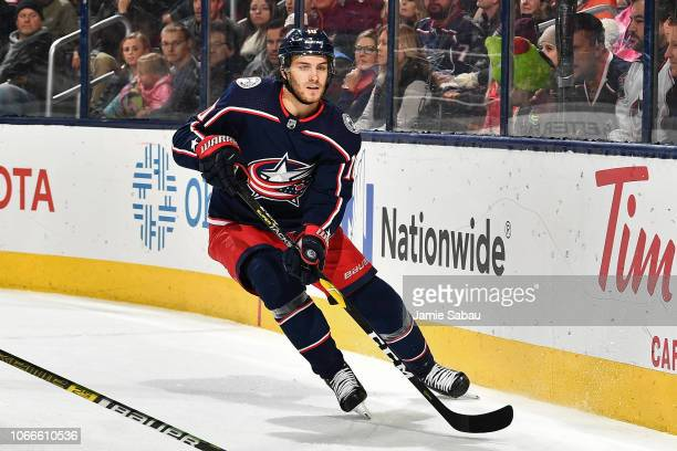Alexander Wennberg of the Columbus Blue Jackets skates against the New York Rangers on November 10 2018 at Nationwide Arena in Columbus Ohio