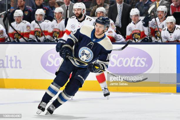 Alexander Wennberg of the Columbus Blue Jackets skates against the Florida Panthers on November 15 2018 at Nationwide Arena in Columbus Ohio