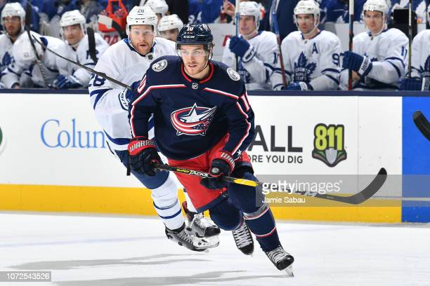 Alexander Wennberg of the Columbus Blue Jackets skates against the Toronto Maple Leafs on November 23 2018 at Nationwide Arena in Columbus Ohio