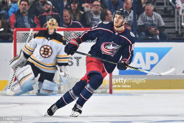 Alexander Wennberg of the Columbus Blue Jackets skates against the Boston Bruins in Game Three of the Eastern Conference Second Round during the 2019...