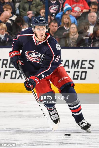 Alexander Wennberg of the Columbus Blue Jackets skates against the Winnipeg Jets on April 6 2017 at Nationwide Arena in Columbus Ohio