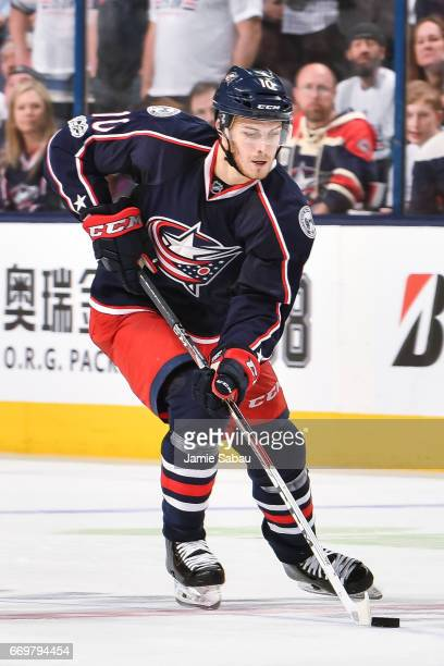 Alexander Wennberg of the Columbus Blue Jackets skates against the Pittsburgh Penguins in Game Three of the Eastern Conference First Round during the...