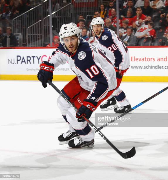 Alexander Wennberg of the Columbus Blue Jackets skates against the New Jersey Devils at the Prudential Center on December 8 2017 in Newark New Jersey...