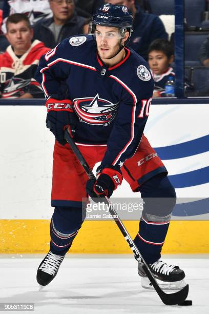 Alexander Wennberg of the Columbus Blue Jackets skates against the Vancouver Canucks on January 12 2018 at Nationwide Arena in Columbus Ohio