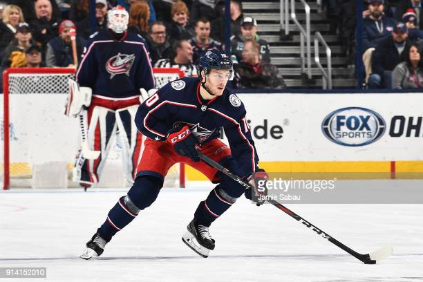 Alexander Wennberg of the Columbus Blue Jackets skates against the San Jose Sharks on February 2 2018 at Nationwide Arena in Columbus Ohio