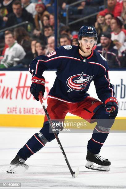 Alexander Wennberg of the Columbus Blue Jackets skates against the Chicago Blackhawks on February 24 2018 at Nationwide Arena in Columbus Ohio