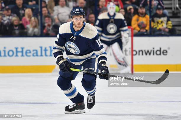 Alexander Wennberg of the Columbus Blue Jackets skates against the St Louis Blues on February 2 2019 at Nationwide Arena in Columbus Ohio