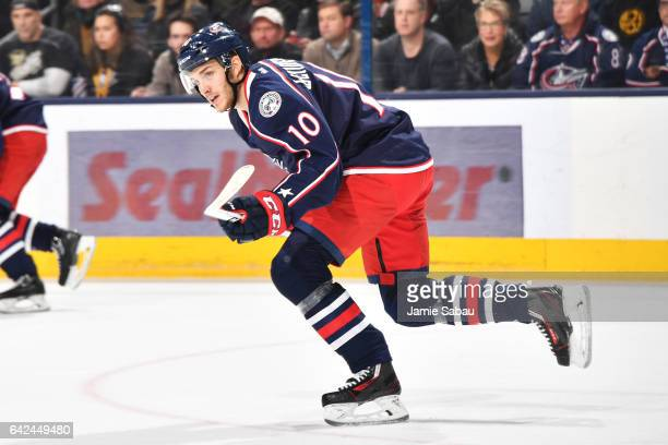 Alexander Wennberg of the Columbus Blue Jackets skates during the first period of a game against the Pittsburgh Penguins on February 17 2017 at...