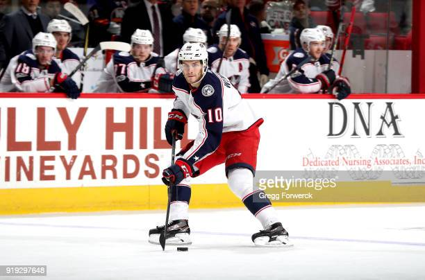 Alexander Wennberg of the Columbus Blue Jackets skates with the puck during an NHL game against the Carolina Hurricanes on December 16 2017 at PNC...