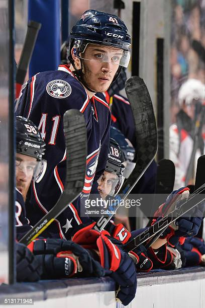 Alexander Wennberg of the Columbus Blue Jackets waits on the bench to take a shift against the Florida Panthers on February 27 2016 at Nationwide...