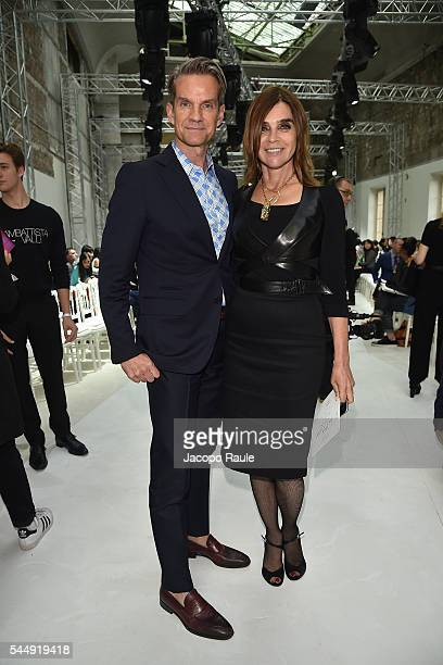 Alexander Werz and Carine Roitfeld attend the Giambattista Valli Haute Couture Fall/Winter 20162017 show as part of Paris Fashion Week on July 4 2016...