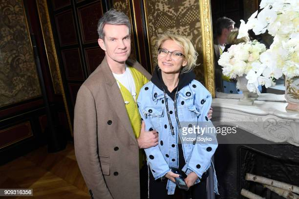 Alexander Werz and Evelina Khromtchenko attend the Ulyana Sergeenko Presentation as part of Paris Fashion Week Haute Couture Spring Summer 2018 show...