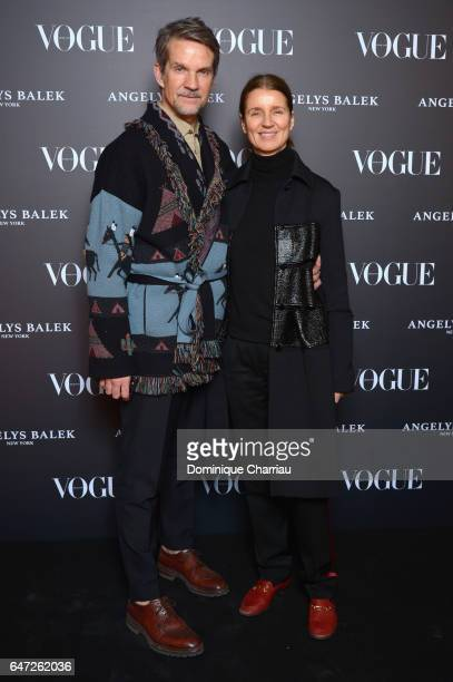 Alexander Werz and Karla Otto arrives at the Vogue Thailand Angelys Balek Cocktail Dinner as part of Paris Fashion Week Womenswear Fall/Winter...