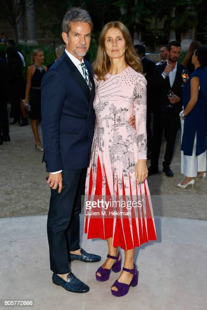 Alexander Werz and Karla Otto attends the amfAR Paris Dinner 2017 at Le Petit Palais on July 2 2017 in Paris France