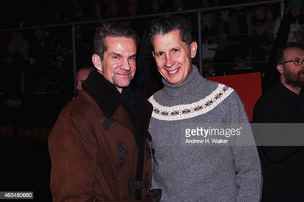 Alexander Werz and Stefano Tonchi attend the Moncler Grenoble Fall/Winter 2015 fashion show during New York Fashion Week Fall 2015 at the Duggal...