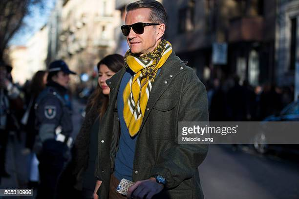 Alexander Werz of Karla Otto exits the Marni show during the Milan Men's Fashion Week Fall/Winter 2016/17 on January 16 2016 in Milan Italy