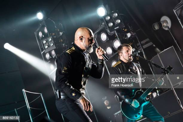 Alexander Wesselsky and Juergen Plangger of the German band Eisbrecher perform live on stage during a concert at the Columbiahalle on October 8 2017...
