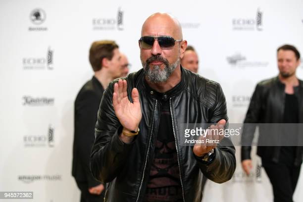 Alexander Wesselsky of the band 'Eisbrecher' arrives for the Echo Award at Messe Berlin on April 12 2018 in Berlin Germany