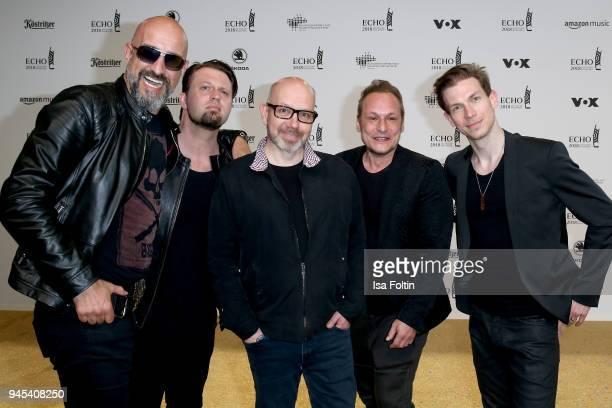 Alexander Wesselsky Rupert Keplinger Achim Faerber Jochen Seibert and Juergen Plangger of the band 'Eisbrecher' arrive for the Echo Award at Messe...
