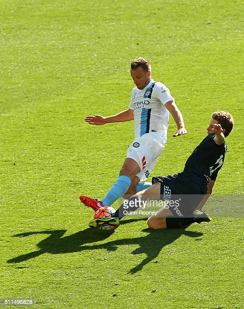 Alexander Wilkinson of City and Trent Buhagiar of the Mariners compete for the ball during the round 20 ALeague match between Melbourne City FC and...