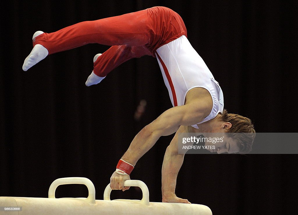 Alexander Windfield-Hellsten of Denmark performs on the Pommel Horse during the mens senior qualification round, in the European Artistic Gymnastics Team Championships 2010, at the National Indoor Arena in Birmingham, central England on April 23, 2010.