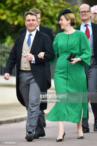 Alexander Windsor Earl of Ulster and Claire Booth Countess of Ulster attend the wedding of Lady Gabriella Windsor and Thomas Kingston at St George's...