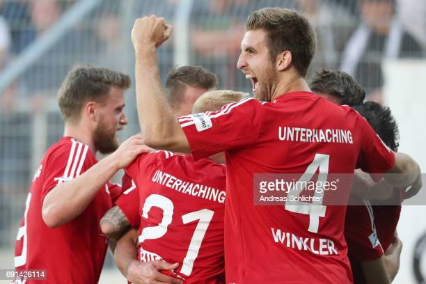 Alexander Winkler of Unteraching celebrate during the Third League Playoff leg two match between SV Elversberg and SpVgg Unterhaching at...