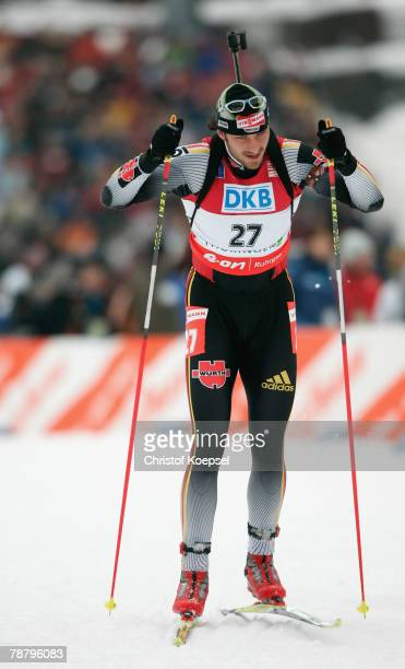 Alexander Wolf of Germany skates during the Mens 15 km mass start of the E.ON Ruhrgas IBU Biathlon World Cup on January 06, 2008 in Oberhof near...