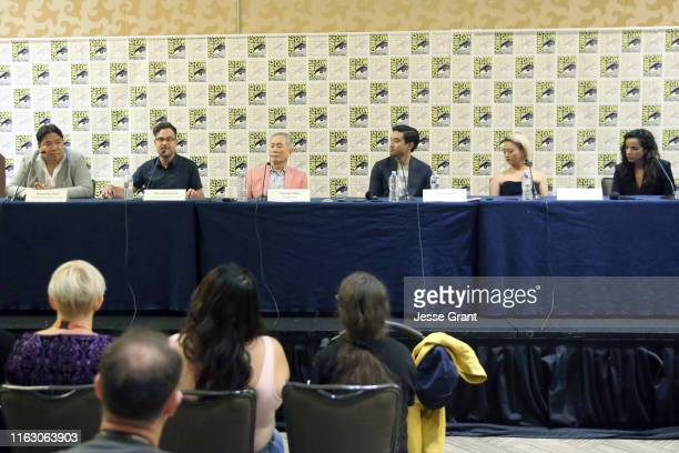 Alexander Woo Max Borenstein George Takei Derek Mio Kiki Sukezane and Cristina Rodlo attend The Terror Infamy Press Conference at Comic Con 2019 on...