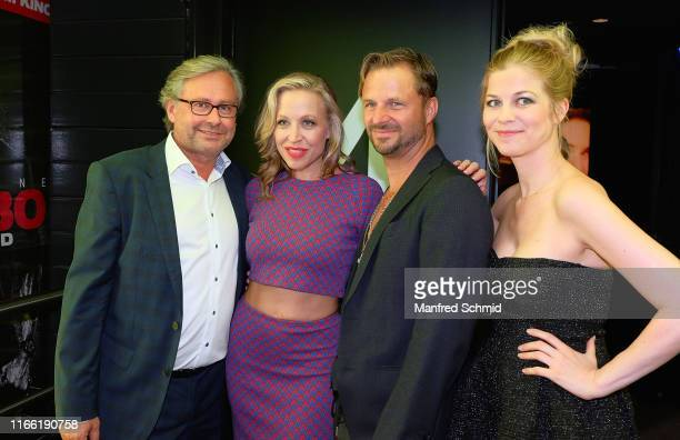 Alexander Wrabetz Nina Proll Philipp Hochmair and Hilde Dalik pose during the Vorstadtweiber premiere at Cineplexx Wienerberg ThirtyFive on September...