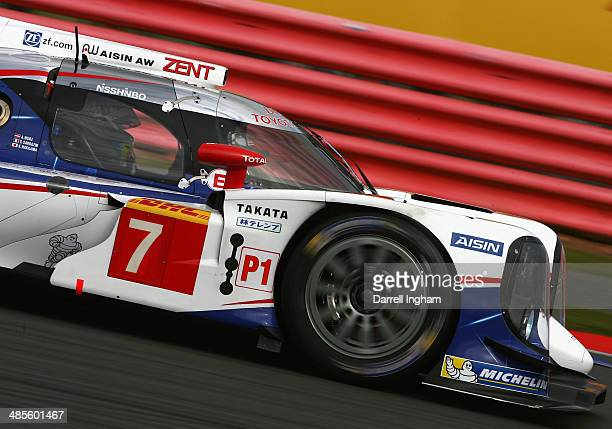 Alexander Wurz of Austria drives the Toyota Racing Toyota TS040 Hybrid LMP1 during practice for the FIA World Endurance Championship 6 Hours of...