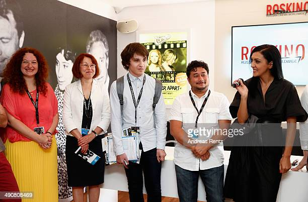 Alexander Yaropolski Konstantin MalkinFam and director General of ROSKINO Catherine Mtsitouridze attend the Roskino Pavilion opening during the 67th...