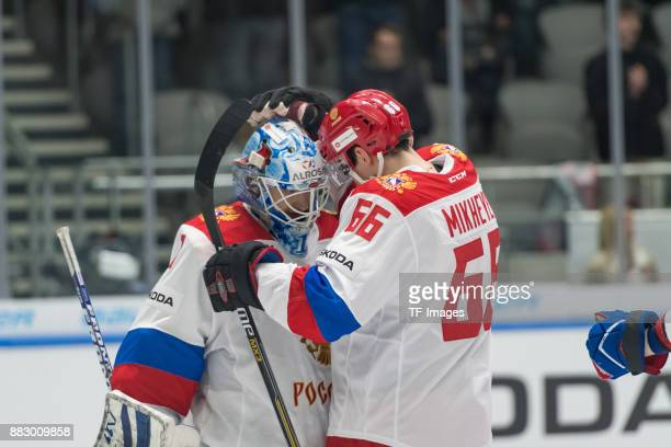 Alexander Yeryomenko of Russia and Ilya Mikheyev of Russia celebrate after winning during the Deutschland Cup 2017 match between Russia and USA at...