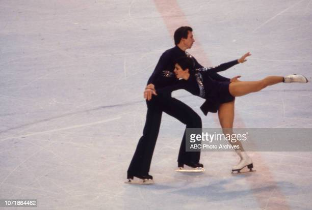 Alexander Zaitsev Irina Rodnina competing in the Pairs figure skating event at the 1980 Winter Olympics / XIII Olympic Winter Games Olympic Center...