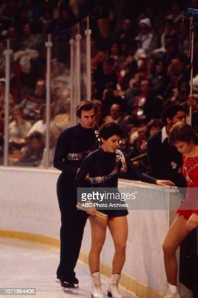 Alexander Zaitsev Irina Rodnina Manuela Mager competing in the Pairs figure skating event at the 1980 Winter Olympics / XIII Olympic Winter Games...