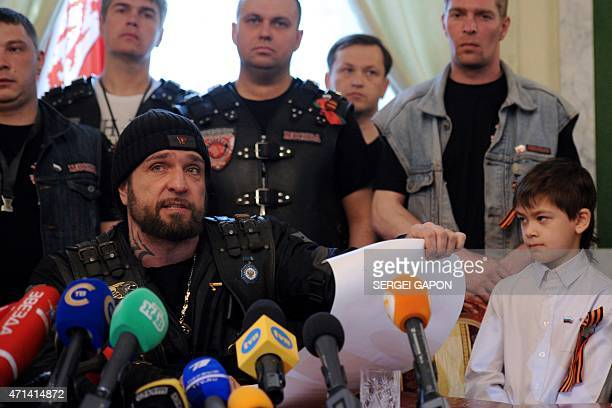 Alexander Zaldostanov also known as 'Khirurg' leader of the Night Wolves bikers' club talks to media in Brest on April 28 2015 Ten proKremlin bikers...