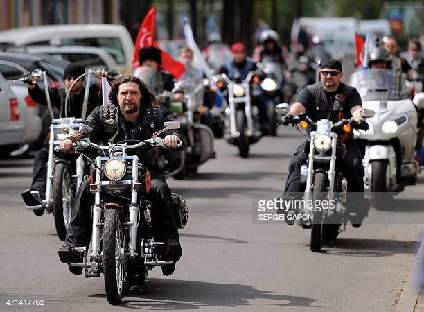 Alexander Zaldostanov also known as 'Khirurg' leader of the Night Wolves bikers' club arrives to hold a press conference in Brest on April 28 2015...