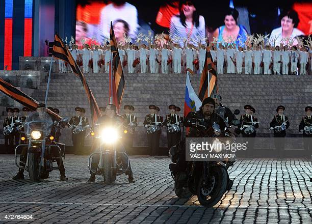 Alexander Zaldostanov also known as 'Khirurg' leader of the Night Wolves bikers' club takes part in a festive concert at Moscow's Red Square on May 9...