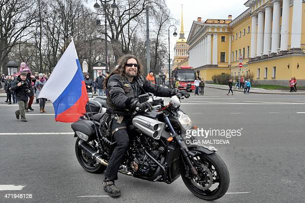 Alexander Zaldostanov nickname 'Khirurg' the head of the Russian motorcycle club 'Night Wolves' arrives for the opening ceremony of the new...