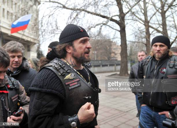 Alexander Zaldostanov nicknamed 'the Surgeon' leader of a group of Russian bikers called the Night Wolves attends a rally of proRussian activists...
