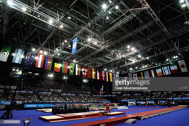 Alexander Zebrov of Russia in action in the doublemini trampoline final during the 28th Trampoline and Tumbling World Championships at National...