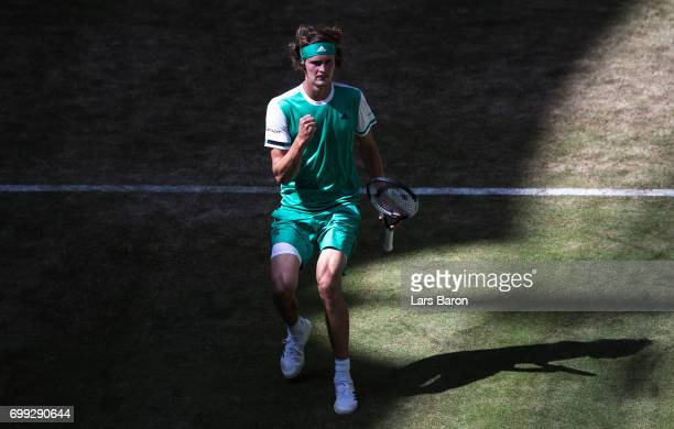 Alexander Zerev of Germany celebrates during his match against Philipp Kohlschreiber of Germany during Day 5 of the Gerry Weber Open 2017 at Gerry...