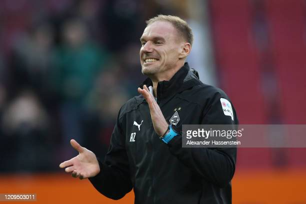 Alexander Zickler assistent coach of Moenchengladbach celebrates after the Bundesliga match between FC Augsburg and Borussia Moenchengladbach at...
