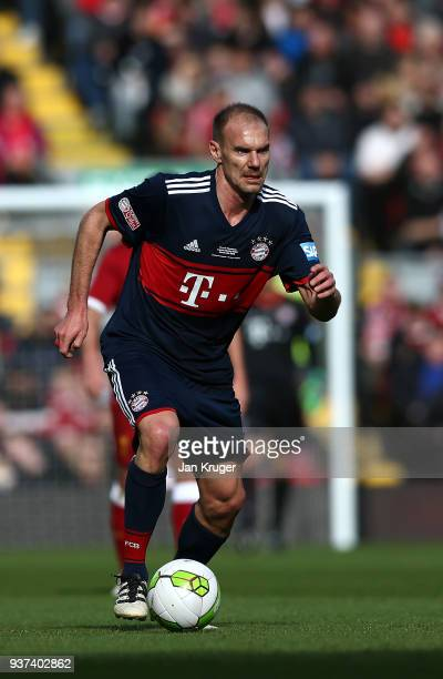 Alexander Zickler of Bayern Munich Legends during the friendly match between Liverpool FC Legends and FC Bayern Legends at Anfield on March 24 2018...