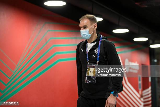 Alexander Zickler of Borussia Moenchengladbach is seen before the UEFA Champions League Round Of 16 Leg One match between Borussia Moenchengladbach...