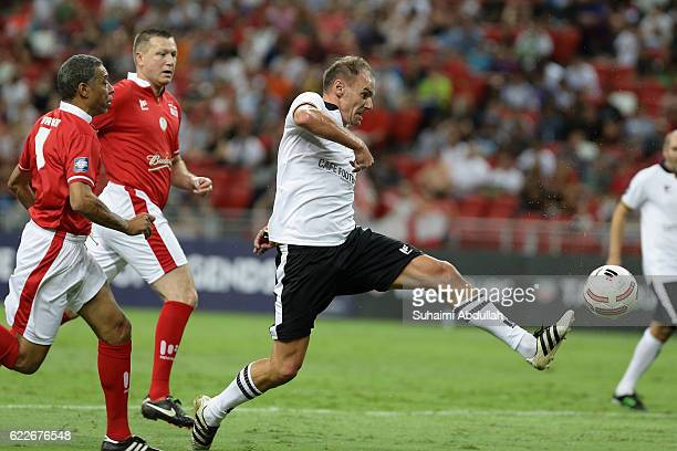 Alexander Zickler of Germany tries to control the ball during the Battle of Europe match between England Masters and Germany Masters at Singapore...