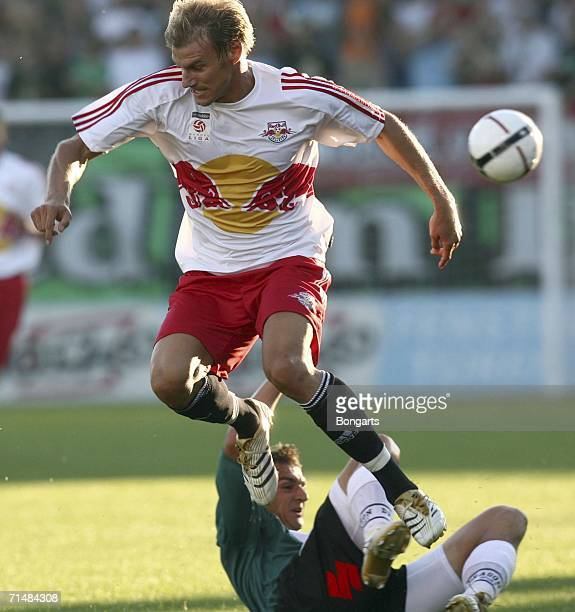 Alexander Zickler of Red Bull Salzburg vies for the ball with Ewald Brenner of Ried during the TMobile Bundesliga match bewteen SV Josko Fenster Ried...